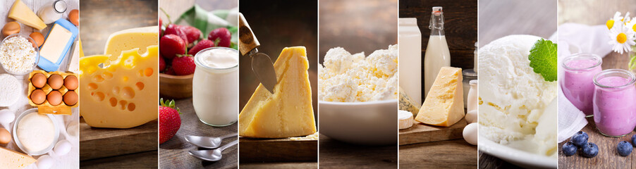collage of various dairy products