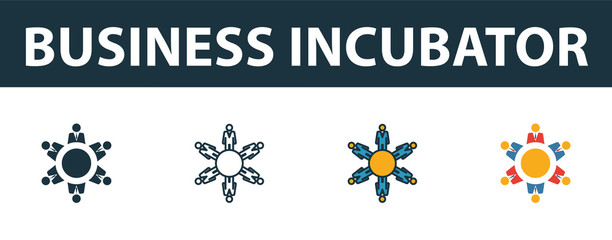 Business Incubator icon set. Premium symbol in different styles from startup icons collection. Creative business incubator icon filled, outline, colored and flat symbols