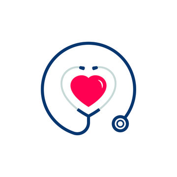 Stethoscope icon with heart shape. Health and medicine symbol. Vector illustration