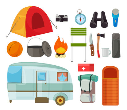 Tourism equipment flat vector illustrations set. Camping items color drawing. Tourist tent, backpack isolated cliparts pack. Traveller trailer caravan. Tekking, hiking journey tools design elements.
