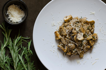 Italian risotto with mushrooms rosemary and parmesan