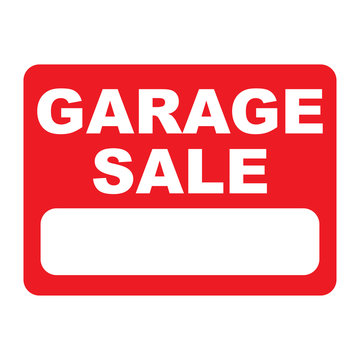 garage sale sign on red background vector