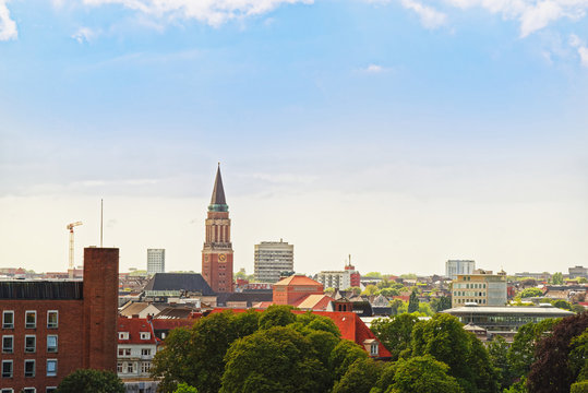 Aerial view on St Nikolai church - Protestant church in Kiel, Germany