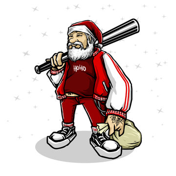 santa with gangster style with bat stick vector illustration
