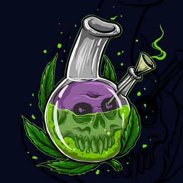 illustration of a bottle and bong of marijuana
