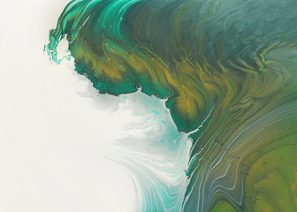 art photography of abstract marbleized effect background. emerald green, white and gold creative colors. Beautiful paint. - fototapety na wymiar
