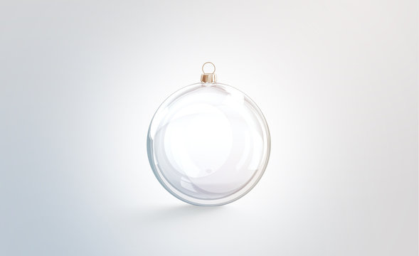 Blank glass christmas ball for tree mock up, isolated