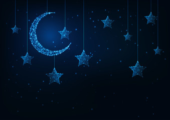 Night holiday background with futuristic glowing low poly crescent moon and stars and dark blue.