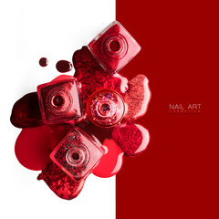 Red and metallic nail art cosmetics concept