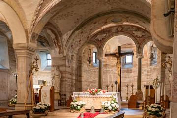 Altar decoration in medieval church in Verona/Italy