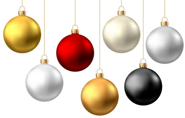 Zelfklevend Fotobehang Bol Realistic red, black, gold, silver Christmas balls isolated on white background.