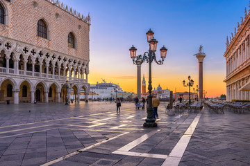 Poster Venetie Sunrise view of piazza San Marco, Doge's Palace (Palazzo Ducale) in Venice, Italy. Architecture and landmark of Venice. Sunrise cityscape of Venice.