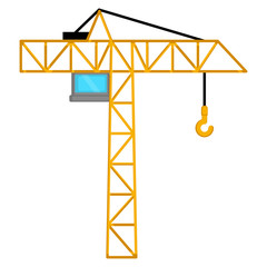Isolated crane image on a white background - Vector