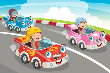 Tuinposter Cartoon cars Children Racing With Funny Cars