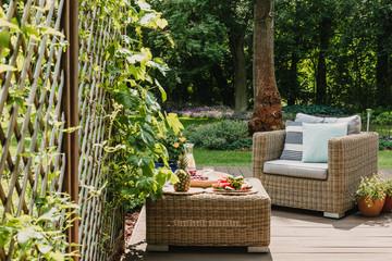 Elegant garden furniture on terrace of suburban home