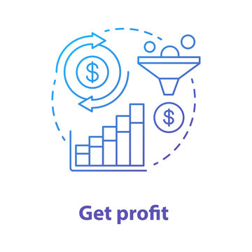 Get profit blue concept icon. Increase earnings idea thin line illustration. Successful sales pitch. Digital marketing. Financial business plan, money transfer. Vector isolated outline drawing