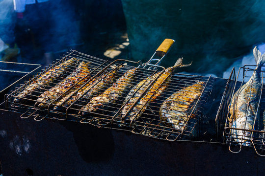 Whole scomber fish cooking in a metal grate grill