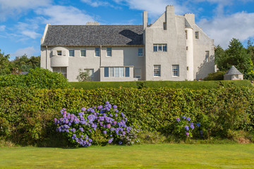 Large House on a Hill Overlooking Gardens, Scotland