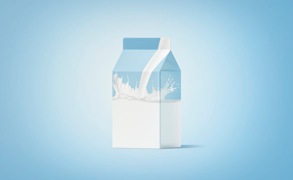 Blank white small carton pack milk splash mockup, blue background
