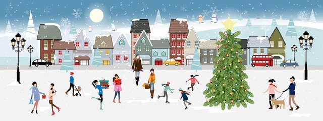 Winter landscape at night with people having fun in the park,Vector illustration. City landscape on Christmas holidays with people celebration, kid playing ice skates, women shopping in the town