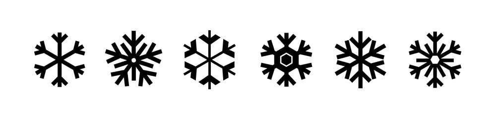 Snowflakes icon set isolated on white. Vector Christmas decoration elements.