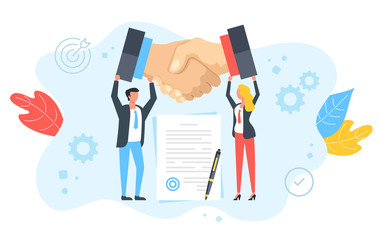 Handshake, cooperation, partnership, business relationship concepts. Business people holding shaking hands, agreement, contract document with stamp and pen. Modern flat design. Vector illustration