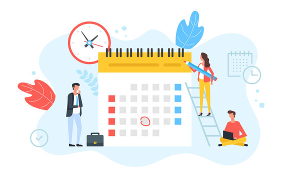 Schedule, appointment, planning. Clock and calendar with marked date and group of people with pencil, laptop and briefcase. Time, business event concepts. Modern flat design. Vector illustration