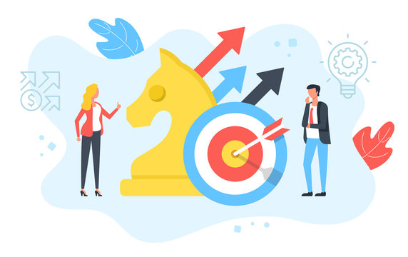 Business plan, target marketing, financial strategy, business success concepts. People with chess knight and target with arrows. Modern flat design. Vector illustration
