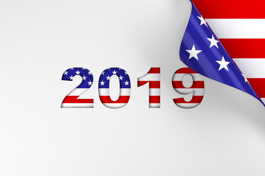 2019 in red, white, and blue American flag colors page turn background. 3d render.