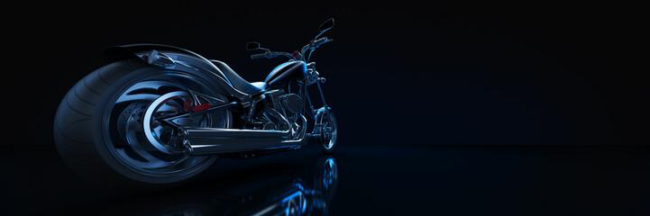 Motorcycle,  studio setup, on a dark background. 3d rendering