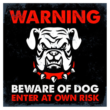 vintage textured beware of dog sign