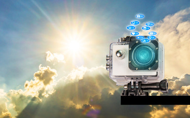 Camera, action, white-Tech's technology is separate from full hd technology background