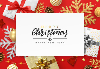 Christmas red background. Xmas festive decoration objects. Realistic elements of design. Merry Christmas and Happy New Year Holiday template. greeting card, poster. flat top view. vector illustration