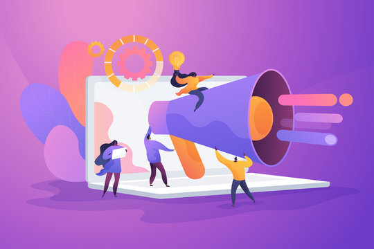 Word of mouth promotion flat vector illustration. Creative digital advertising campaign, agitational message, public announcement concept. Marketers team, promoters with megaphone cartoon characters