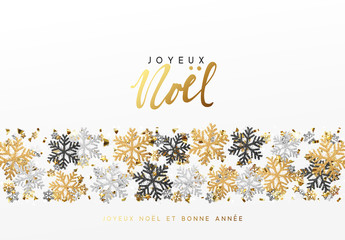 French text Joyeux Noel. Merry Christmas and Happy New Year. Xmas background with Shining gold and silver Snowflakes. Greeting card, holiday banner, web poster Fototapete