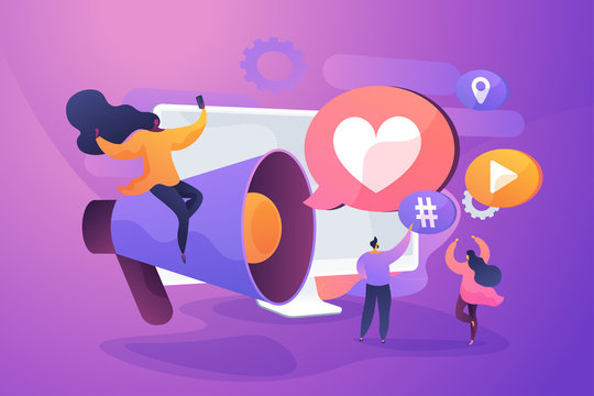 SMM management, notification flat vector illustration. Internet lifestyle, modern communication technology, followers engaging concept. Social media influencers with loudspeaker cartoon characters