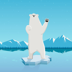 vector cartoon of a polar bear waving