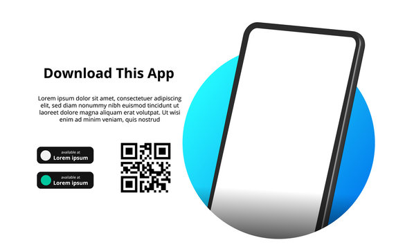 page banner advertising for downloading app for mobile phone, smartphone. Download buttons with scan qr code template.
