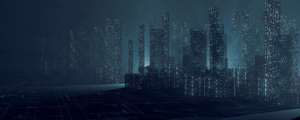 3D Rendering of abstract digital city with sky scrapping towers and glowing dots binary data in foggy ray light. Concept of big data, machine learning, artificial intelligence, virtual reality Wall mural