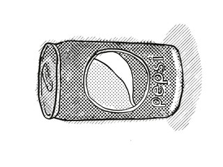Pepsi Cola in a can Cartoon Retro Drawing