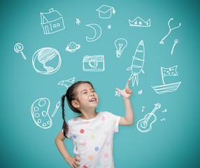 Asian child girl pointing at the blackboard with imagination the doodle art, Creative and dreams of...