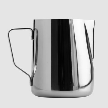 Stainless steel milk jug. Stainless steel milk pitcher. Foaming jug for coffee art and Barista tools kit.