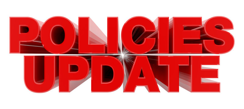 POLICIES UPDATE red word on white background illustration 3D rendering