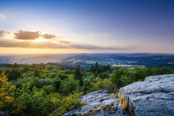La Roche d'Ajoux, mountain peak in Beaujolais land, France