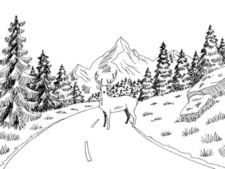Foto auf Leinwand Weiß Deer on the road graphic black white landscape sketch illustration vector