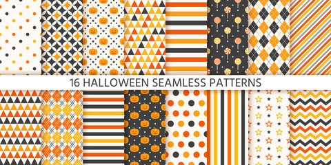Halloween pattern. Seamless Haloween background. Vector. Texture with pumpkin face, polka dot, star stripes triangle rhombus. Geometric wrapping paper, textile print. Orange yellow black Illustration