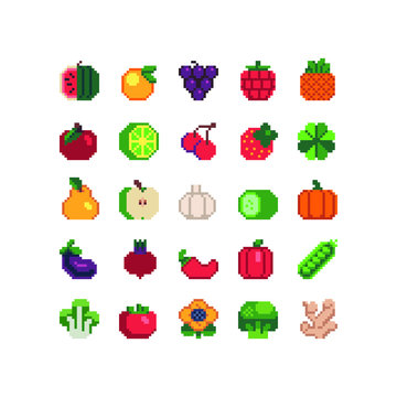 Fruits and vegetables pixel art icons set mushrooms and nuts isolated vector illustration. Design for stickers, logo, mobile app. Video game assets 80s 8-bit sprite sheet.