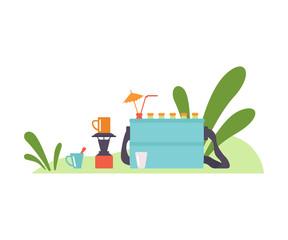 Bag refrigerator in the meadow. Vector illustration.