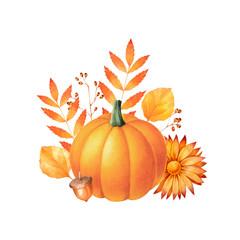 Fall arrangement with pumpkin, corns, chrysanthemum and autumn leaves. Seasonal watercolor illustration.