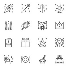 Party decoration line icons set. linear style symbols collection, outline signs pack. vector graphics. Set includes icons as popper, fireworks rocket, invitation card, flag, party balloons, cone hat